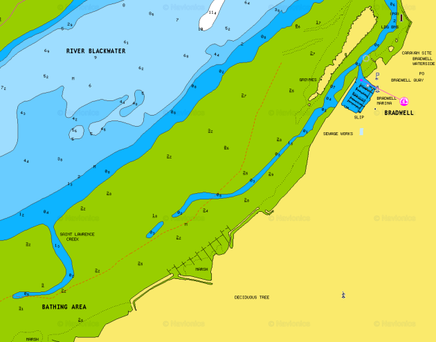 Navionics chart of St Lawrence Creek