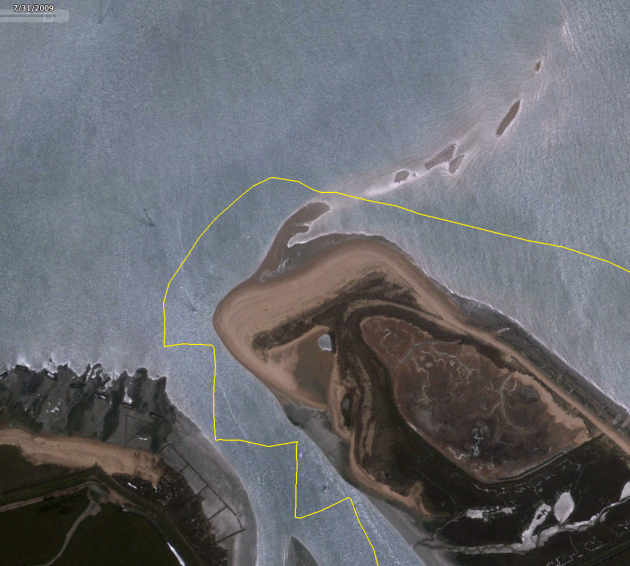 Route where ran aground at Stone Point