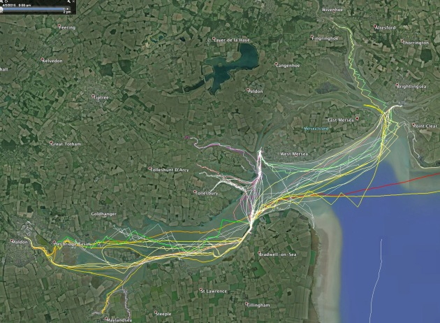 GPS tracks of sailing the river blackwater